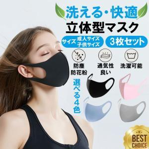 マスク 3枚セット 立体  洗濯可能 大人用 子供用 マスク 送料無料|stj