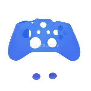 ノーブランド品Xbox One用 コントローラカバー ケース+交換用アナログスティック カバー 青