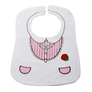 ベビー スタイ よだれかけ ドレスデザイン 可愛い ピンクとホワイト (2)|stk-shop