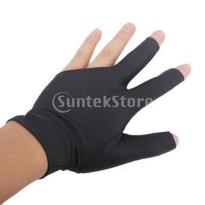 左手用 手袋 プロ 3指 グローブ オープン指先 弾性 柔軟 ビリヤードグローブ  全4色選べる - ブラック