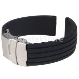 時計バンド 交換ベルトシリコーンゴム 腕時計ストラップ 防水 22mm (ブラック)|stk-shop