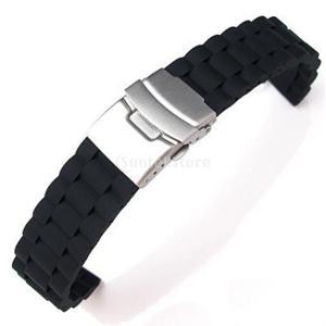 Dovewill 腕時計ストラップ  防水 20mm  黒  時計バンド   シリコン  交換ベルト  魅力的