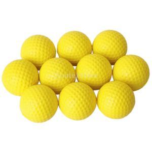10個入り ゴルフ PU 練習用ボール ゴルフボール 柔軟 イエロー|stk-shop