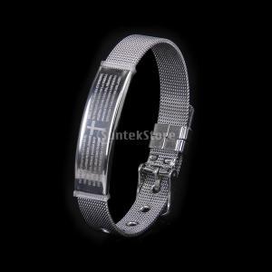 スペイン語で聖書の文言が刻まれた腕時計タイプのバングルです。  ?  説明 材質:ステンレス鋼 色:...
