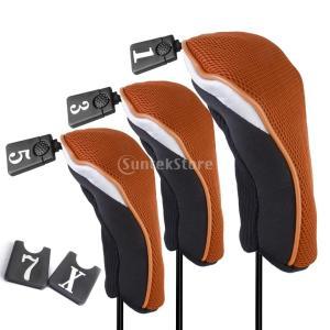 ノーブランド品 アイアンカバー ヘッドカバー 番手あり 保護カバー 3個セット 全5色 (オレンジ) stk-shop