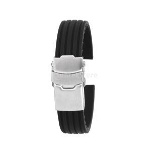 ノーブランド品時計バンド 交換ベルト シリコンゴム 腕時計ストラップ 防水16mm  縦シマ ブラック|stk-shop