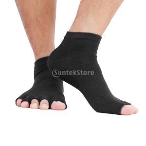 【ノーブランド品】ヨガソックス 指なし5本指ソックス ソックス 靴下 くつ下 男女兼用 黒|stk-shop