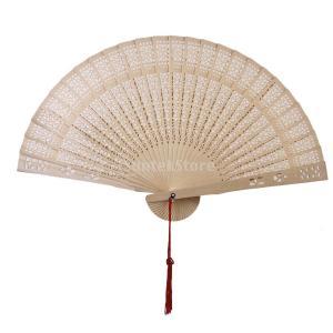 Dovewill  素雅 白檀 木製 中空彫刻 手持ち 扇子 夏 和服着物装飾小物 踊り用品|stk-shop