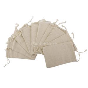 ノーブランド品 リネン製 シンプル ジュエリーポーチ 巾着 ギフトバッグ 8x10cm 10枚|stk-shop