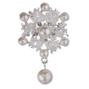 バッグ 服のスカーフ ファッション フェイクパール 合金 銀の花のブローチピン スカーフピン