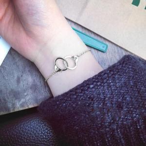 SONONIA シルバー 女性 手錠 ブレスレット ツインノット バックルチェーン バングル ジュエリー stk-shop