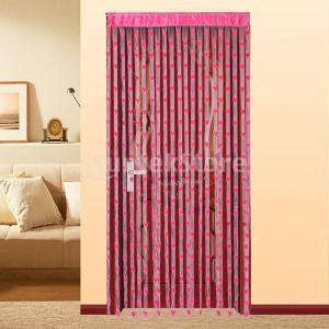 ドアカーテン ハートタッセル  窓 部屋デバイダ 装飾 飾り (フクシア)