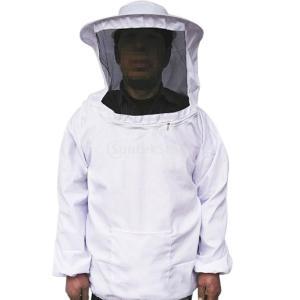 ノーブランド品プロ防護服 養蜂ジャケットベール 害虫駆除 養蜂用 ぶよ 蚊 対策 虫よけ 草刈り 白|stk-shop