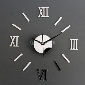 Fenteer インテリア ミラー  3D 立体 ウォールステッカー 掛時計 鏡効果 剥がせる 装飾