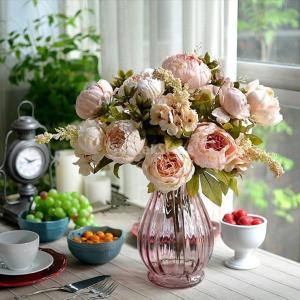 【ノーブランド品】造花、シャクヤク、ボタン、牡丹、フェイクフラワー、人工観葉植物、薄いピンク/ 10本セット|stk-shop