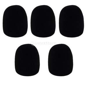 ノーブランド品  KTV用 マイクカバー  マイクスポンジ  風防  5個セット 5色選べる - ブラック|stk-shop