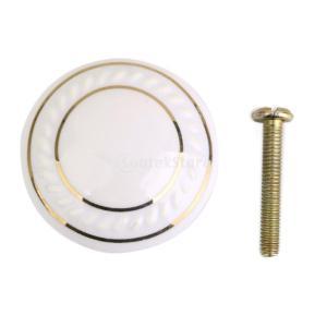 耐久性 丸い ハンドル  取手 キャビネット 本棚 引き出し ドア ハンドル  ノブ ネジ付き 全8色  - 白|stk-shop