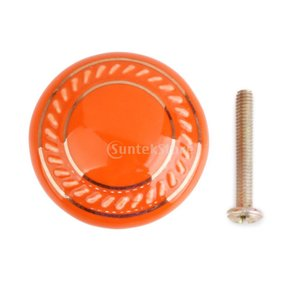 Homyl 耐久性 丸い ハンドル  取手 キャビネット 本棚 引き出し ドア ハンドル  ノブ ネジ付き 全8色  - オレンジ色|stk-shop