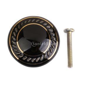耐久性 丸い ハンドル  取手 キャビネット 本棚 引き出し ドア ハンドル  ノブ ネジ付き 全8色  - 黒|stk-shop