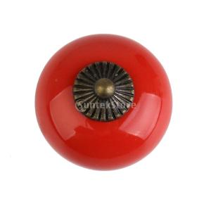 レトロ 丸い プル ハンドル セラミック+亜鉛合金製 引き出し 本棚  キャビネット 食器棚 ドア ノブ 取手 つまみ 全6色  - 赤|stk-shop