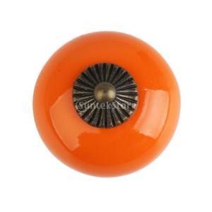 レトロ 丸い プル ハンドル セラミック+亜鉛合金製 引き出し 本棚  キャビネット 食器棚 ドア ノブ 取手 つまみ 全6色  - オレンジ|stk-shop
