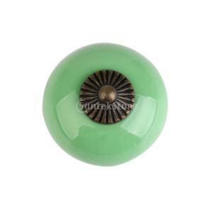 レトロ 丸い プル ハンドル セラミック+亜鉛合金製 引き出し 本棚  キャビネット 食器棚 ドア ノブ 取手 つまみ 全6色  - 緑|stk-shop
