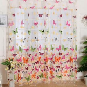 ノーブランド品水洗い可能 ウォッシャブル チュール レース カーテン 100x200cm 蝶柄