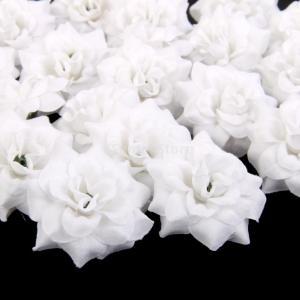 ノーブランド品ローズ バラ 造花 花部分のみ 花びら 花ヘッド 結婚式 装飾 DIY ローズ 人工 (ホワイト)|stk-shop