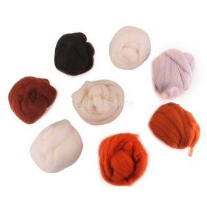 ノーブランド品染め フェルト 繊維 ロービング 8本 純粋 ウール 針 フェルトトップ|stk-shop