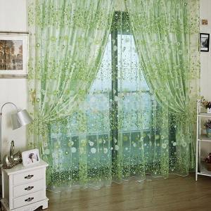 チュール 薄手 カーテン インテリア 装飾 飾り  フローラル柄 100cmx200cm (グリーン)