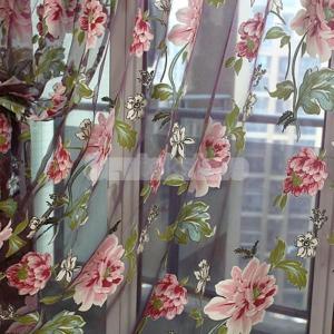Homyl 薄手 チュール ドレープ カーテン 花柄 ビーズ飾り付 100x200cm ワインレッド|stk-shop