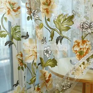 カーテン 窓用 花柄 インテリア ボイル製 幅100cm×丈200cm かわいい おしゃれ ボイルカーテン 薄手