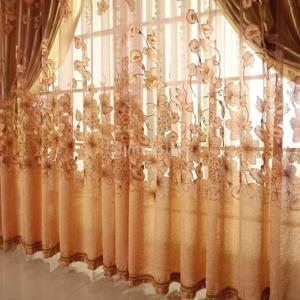 朝顔柄 薄手 チュール ボイルカーテン 遮光カーテン レースカーテン 部屋 幅100x丈250cm 全2色2パタン - コーヒー, ビーズなし