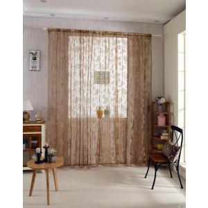 ノーブランド品ホーム 窓 ウィンドウ用 インテリア 薄手 カーテン 200 x 100cm 牡丹の花 コーヒー|stk-shop