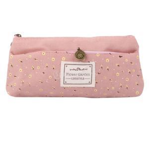 花のキャンバスペンケース化粧品化粧コインポーチジッパーバッグ財布ピンク|stk-shop