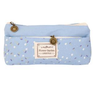 花のキャンバスペンケース青化粧品化粧コインポーチジッパー袋の財布|stk-shop