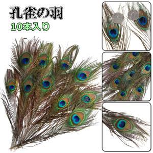 孔雀の羽 羽根 目玉羽 綺麗 装飾用の羽根 23-33cm 10本入り アクセサリー 手芸材料 パーツ 帽子の飾りやインテリアにも