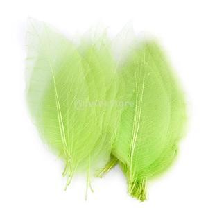 ノーブランド品 50pcs モクレン スケルトン 葉 カード ブックマート クラフト 花作り 結婚式 装飾用 招待状 全7色選べる - 緑色