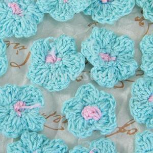 ノーブランド品 20個のハンドメイド毛糸かぎ編みアップリケ 8つブルー|stk-shop