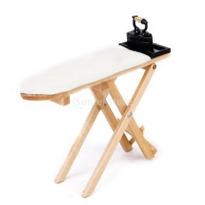 ノーブランド品 木材 金属製 ドールハウス 用品 アイロン・アイロン台 小物セット 木色 stk-shop