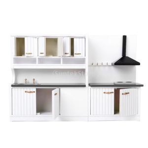 Blesiya 木製 キッチン家具セット ドールハウス ドール 人形用 シンクキャビ 1/12スケール