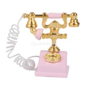 ノーブランド品 1/12サイズ ヴィンテージ 電話 (ピンク) ドールハウス ミニチュア レトロ