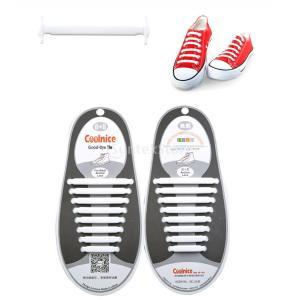 SONONIA シリコンゴム製 結ばない 靴紐 (ホワイト) 1組|stk-shop