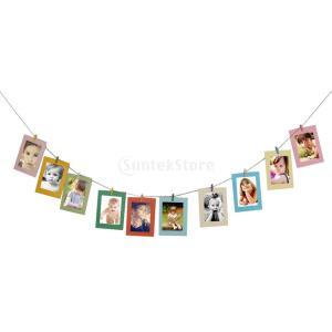 アルバム DIY フォトフレーム クラフトペーパー製 エコ クリップ&麻ロープ付 写真展示 ホーム装飾品 10個 stk-shop