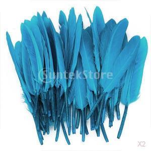 ノーブランド品 100個入り 染め 羽毛 ガチョウ 羽 装飾用羽根 装飾 ヘッドギア DIY 工芸品 4-6インチ 4色選べる - 青|stk-shop
