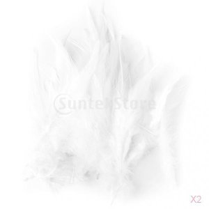 ノーブランド品 約100pcs 染め ルースター 雄鶏 羽根 装飾用の羽根 羽 7.5-10cm DIY 手仕事 工芸品 ホワイト|stk-shop