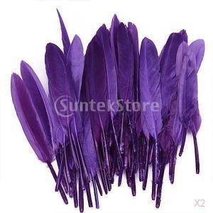 ノーブランド品 約100個入り 染め 羽毛 ガチョウ 羽 装飾用羽根 装飾 ヘッドギア DIY 工芸品 4-6インチ 4色選べる - 紫色|stk-shop