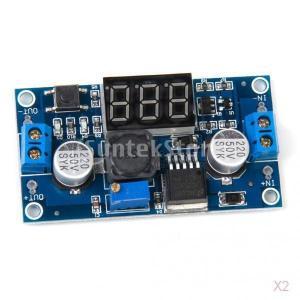 ノーブランド品  2個入り DC-DC 調整可能 降圧電源モジュール (3桁表示) 電圧計表示|stk-shop