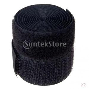 ノーブランド品 2ロール DIY 裁縫 フック ループ テープ 黒|stk-shop