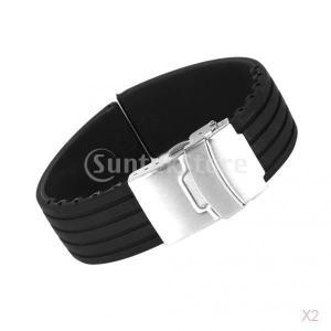 ノーブランド品 お買い得/セール 2点 時計バンド  交換ベルト シリコンゴム 腕時計ストラップ 20mm ブラック stk-shop